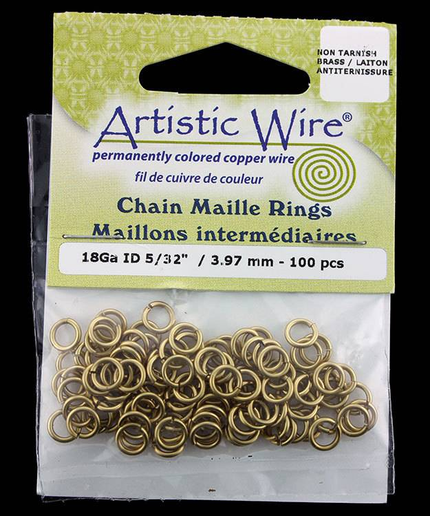 900AWR-05 = Artistic Wire Tarnish Resistant Brass Jump Ring 4.0mm ID (5/32'') 18ga