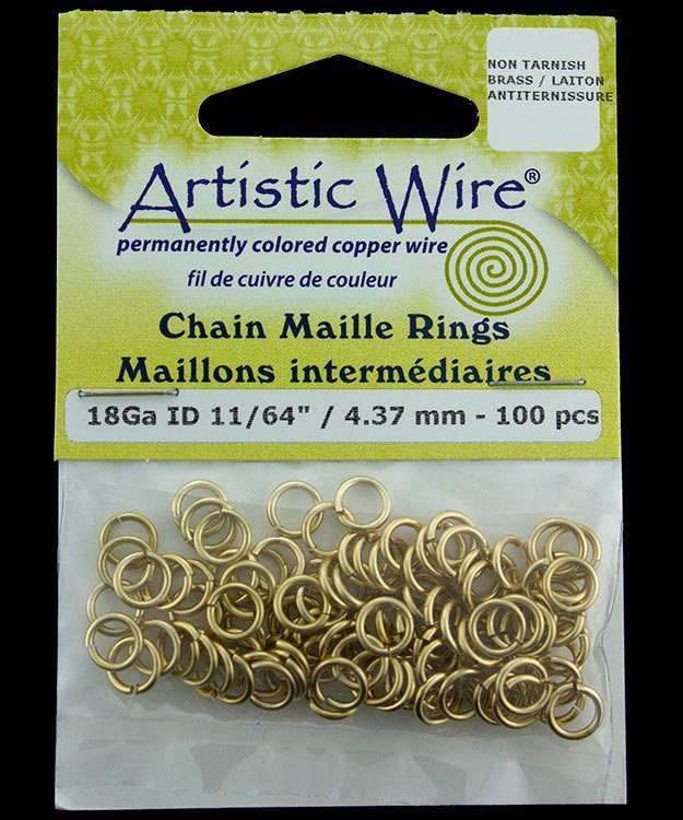 900AWR-06 = Artistic Wire Tarnish Resistant Brass Jump Ring 4.3mm ID (11/64'') 18ga
