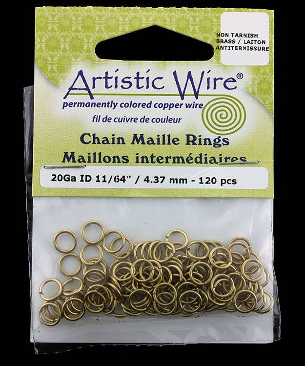 900AWR-16 = Artistic Wire Tarnish Resistant Brass Jump Ring 4.3mm ID (11/64'') 20ga