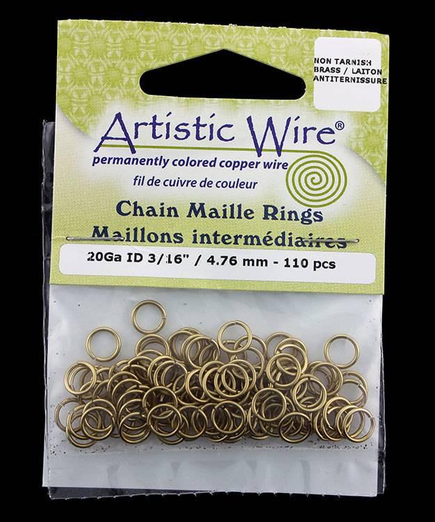 900AWR-17 = Artistic Wire Tarnish Resistant Brass Jump Ring 4.7mm ID (3/16'') 20ga