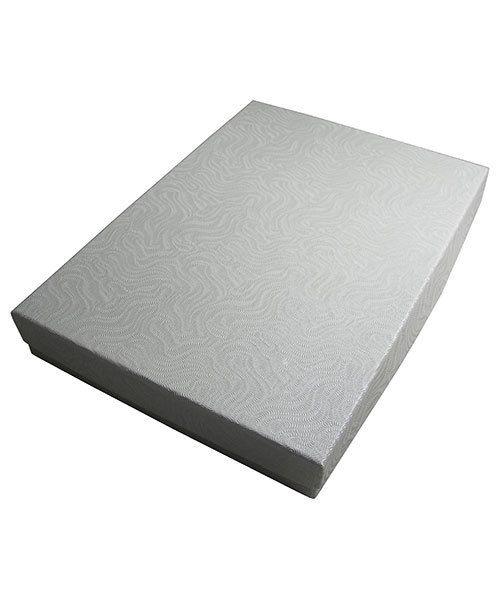 DBX2875W = BOXES - COTTON FILLED WHITE SWIRL  7-1/8'' x 5-1/8'' x 1-1/8''  CASE 100