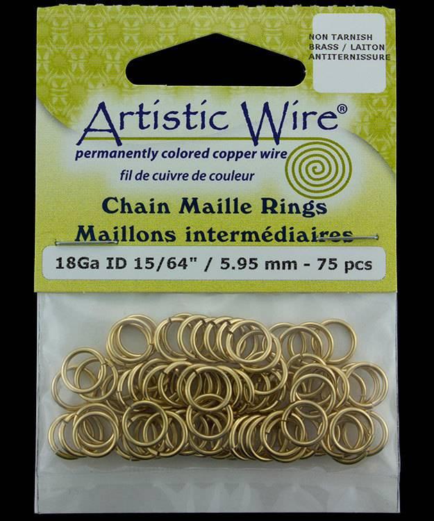 900AWR-09 = Artistic Wire Tarnish Resistant Brass Jump Ring 5.9mm ID (15/64'') 18ga
