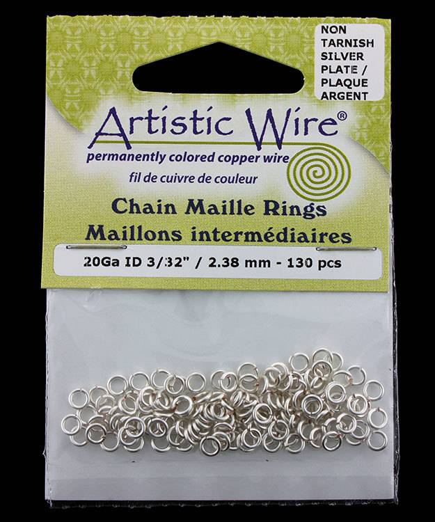 900AWS-11 = Artistic Wire Tarnish Resistant Silver Color Jump Ring 2.4mm ID (3/32'') 20ga