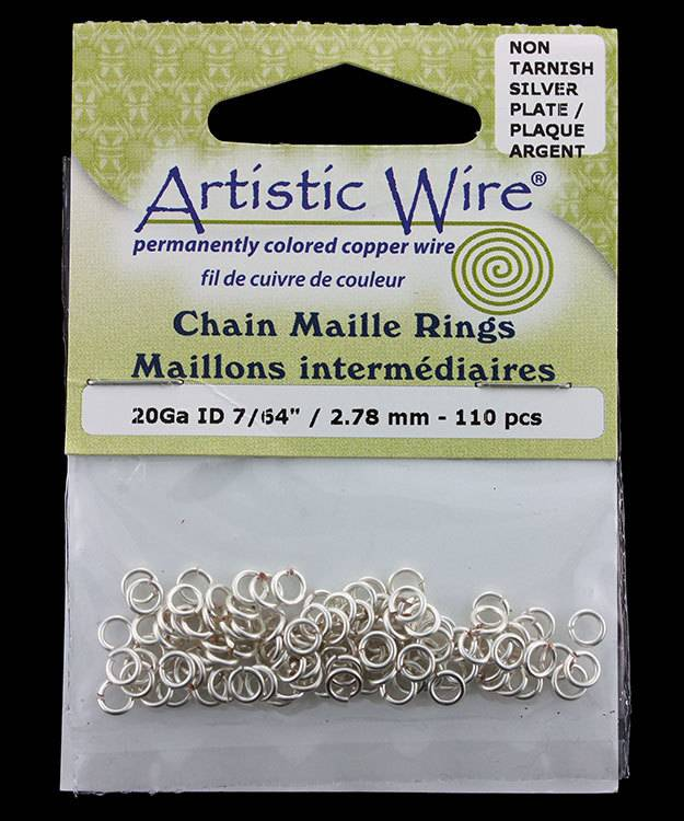 900AWS-12 = Artistic Wire Tarnish Resistant Silver Color Jump Ring 2.8mm ID (7/64'') 20ga