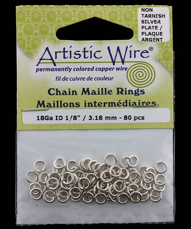 900AWS-03 = Artistic Wire Tarnish Resistant Silver Color Jump Ring 3.1mm ID (1/8'') 18ga