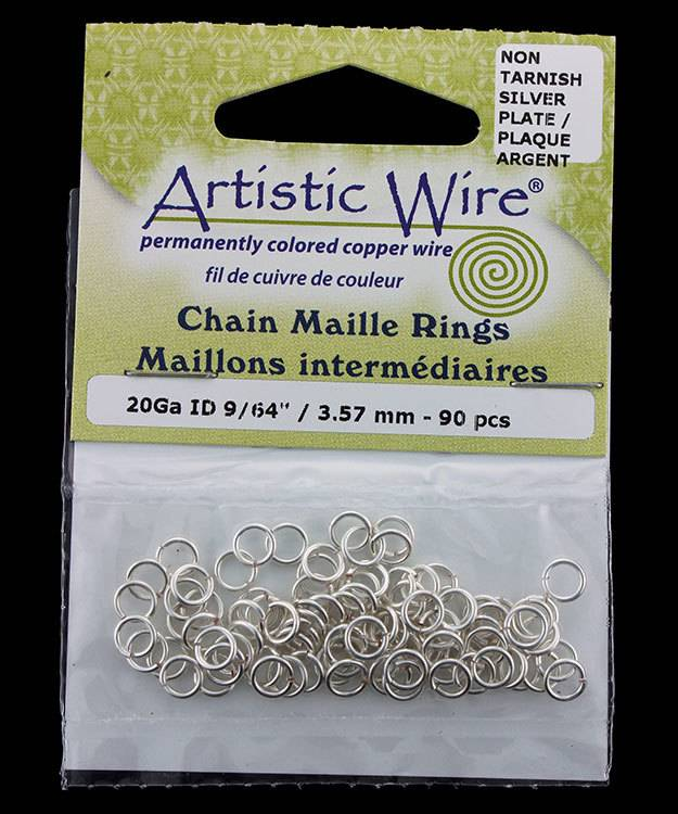 900AWS-14 = Artistic Wire Tarnish Resistant Silver Color Jump Ring 3.5mm ID (9/64'') 20ga
