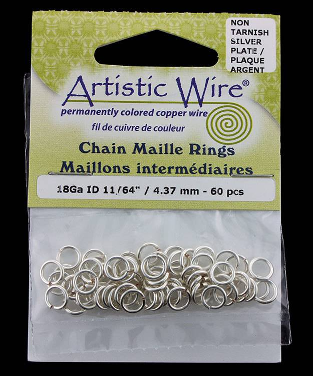 900AWS-06 = Artistic Wire Tarnish Resistant Silver Color Jump Ring 4.3mm ID (11/64'') 18ga