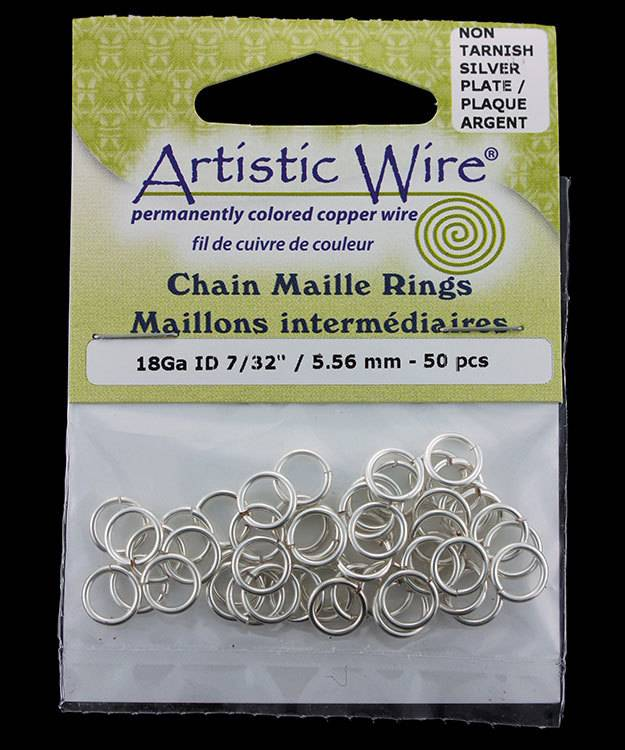900AWS-08 = Artistic Wire Tarnish Resistant Silver Color Jump Ring 5.5mm ID (7/32'') 18ga