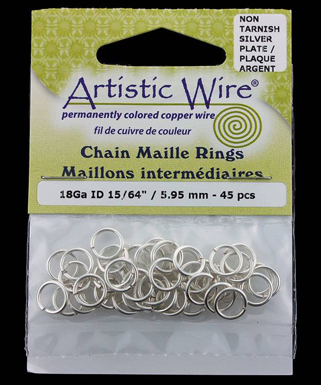 900AWS-09 = Artistic Wire Tarnish Resistant Silver Color Jump Ring 5.9mm ID (15/64'') 18ga