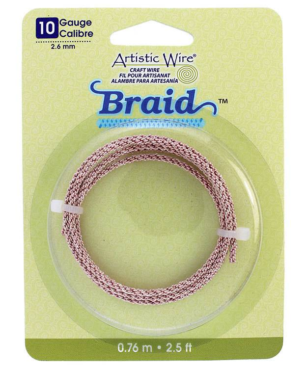 WR48111 = Braided Rose Gold Color Artistic Wire 2.6mm 2.5 Foot Coil