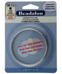 WR5718S = Beadalon German Style Wire 18ga SQUARE SILVER PLATED 1.25 METER COIL