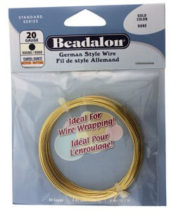 WR5520G = Beadalon German Style Wire 20ga Round Gold Color 6 Meter Coil