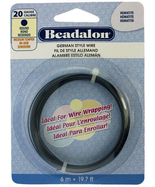 WR5520H = Beadalon German Style Wire 20ga ROUND HEMATITE COLOR 6 METER COIL