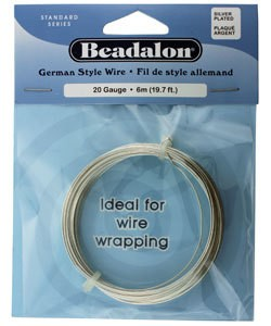WR5520S = Beadalon German Style Wire 20ga ROUND SILVER PLATED 6 METER COIL