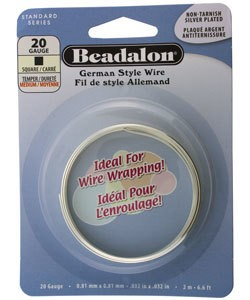 WR5720S = Beadalon German Style Wire 20ga SQUARE SILVER PLATED 2 METER COIL