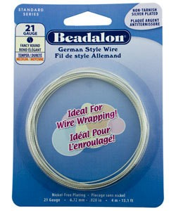 WR5921S = Beadalon German Style Wire 21g FANCY ROUND SILVER PLATED 4 METER COIL