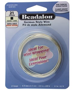 WR5721S = Beadalon German Style Wire 21ga SQUARE SILVER PLATED 2.5 METER COIL