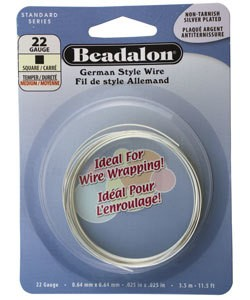 WR5722S = Beadalon German Style Wire 22ga SQUARE SILVER PLATED 3.5 METER COIL