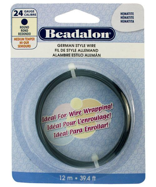 WR5524H = Beadalon German Style Wire 24ga ROUND HEMATITE COLOR 12 METER COIL