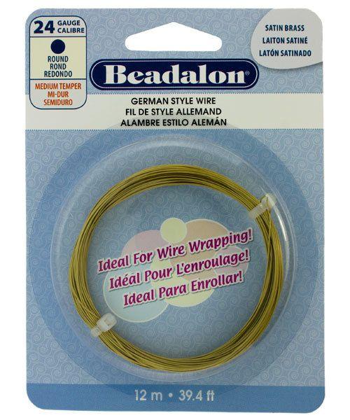 WR5524SB = Beadalon German Style Wire 24ga ROUND SATIN BRASS COLOR 12 METER COIL