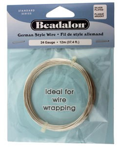 WR5524S = Beadalon German Style Wire 24ga ROUND SILVER PLATED 12 METER COIL