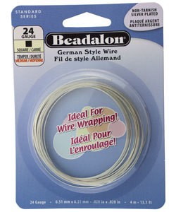 WR5724S = Beadalon German Style Wire 24ga SQUARE SILVER PLATED 4 METER COIL