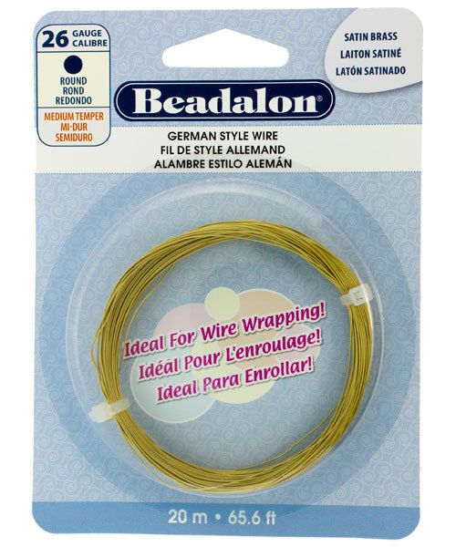 WR5526SB = Beadalon German Style Wire 26ga ROUND SATIN BRASS COLOR 20 METER COIL