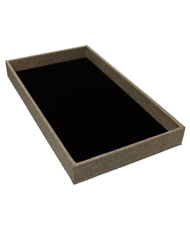 DTR3001 = Burlap Covered Display Trays 14-7/8 x 8-3/8 x 1.5'' deep