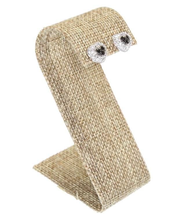 DER3293 = Burlap Double Earring Stand 1-1/2 x 2-1/8 x 3-1/4 (Pkg of 3)