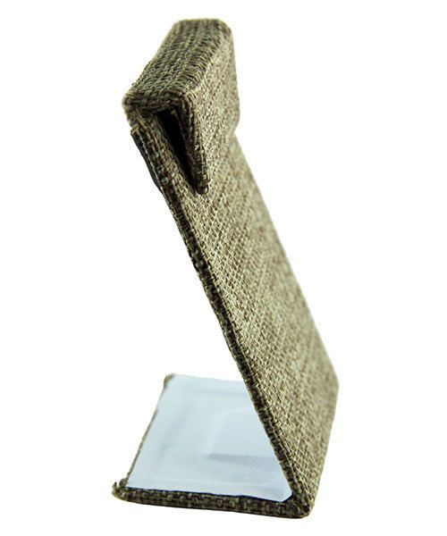 DER302 = Burlap Earring Stand with Flap 2-3/8'' x 1-1/2'' x 3-3/8'' high (Pkg of 3)