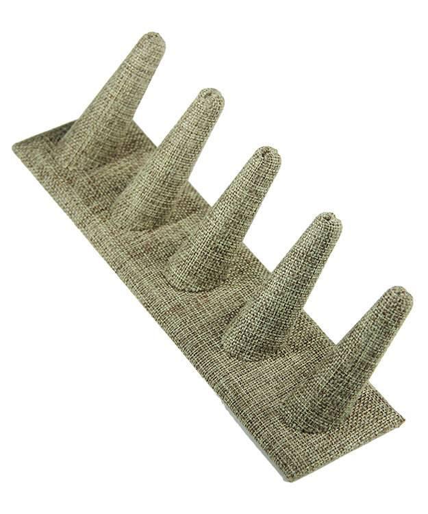 DRG3245 = Burlap Five Ring Finger Display 8'' x 2-1/2'' x 2-1/8''H