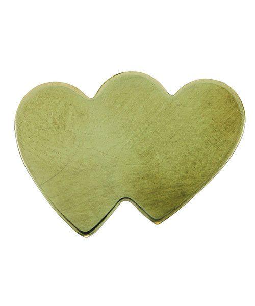 MSBR70724 = Brass Shape - Double Heart 14 x 19.5mm (Pkg of 6)