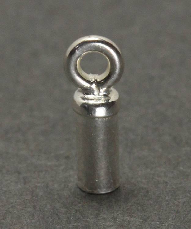 500S-21 = Chain End Cap 1.6mm ID with Ring Sterling Silver (Pkg of 12)