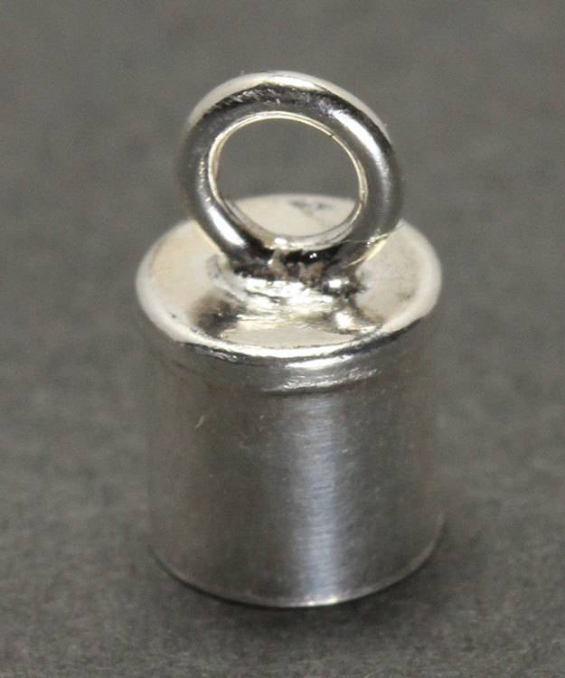 500S-24 = Chain End Cap 4.0mm ID with Ring Sterling Silver (Pkg of 4)