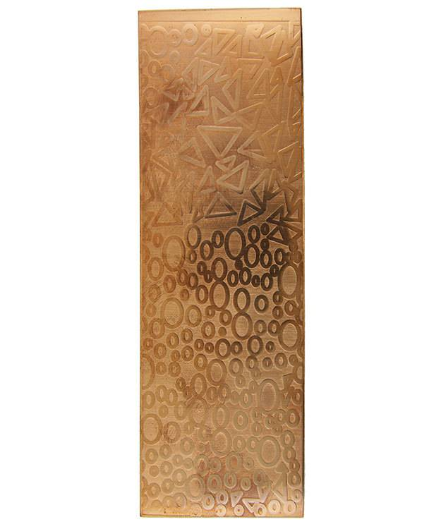CSP4020 = Patterned Copper Sheet ''Ovals & Triangles''  2'' x 6'' 20ga