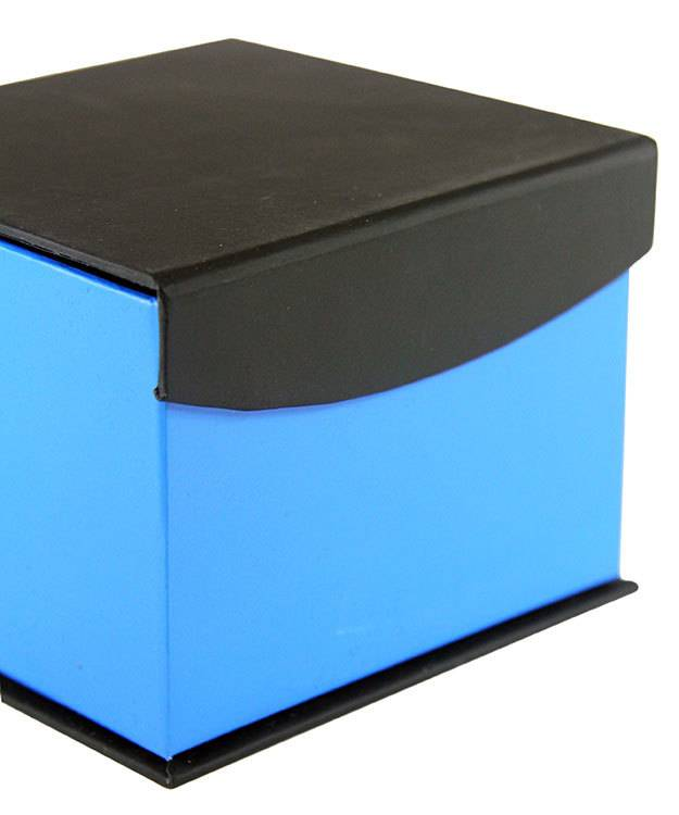 DBX4052 = Deluxe Magnetic Blue/Black Watch Box 4'' x 4'' x 2-1/4'' (Each)