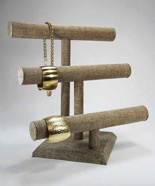 DCH3196 = Burlap Necklace/Bracelet Triple Bar 12'' wide x 12-7/8'' high