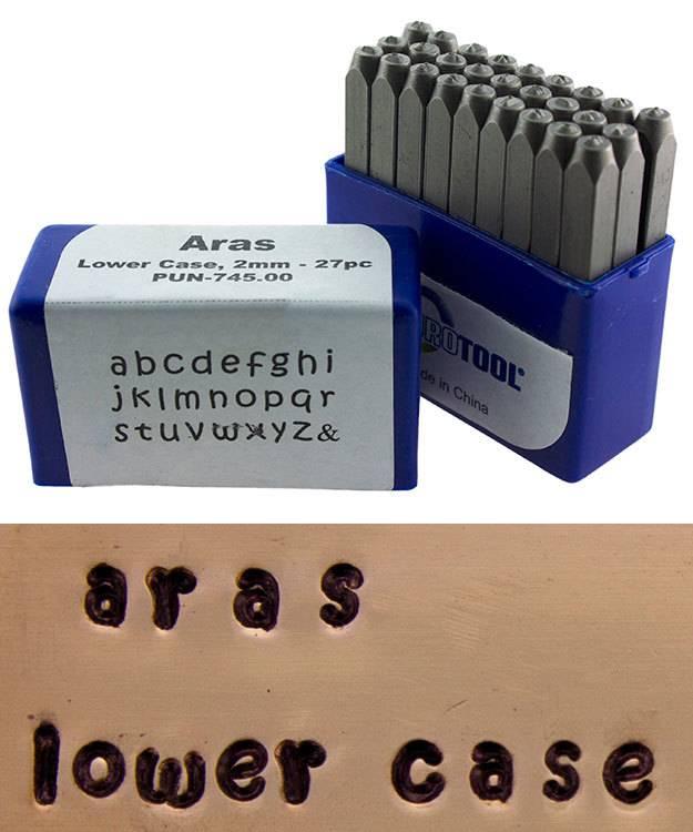 PN996 = Letter Punch Set 2mm ARAS LOWER CASE 27pcs