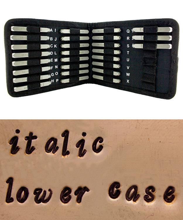 PN977 = Letter Punch Set 3mm STYLISH ITALIC LOWER CASE 27pcs with CASE