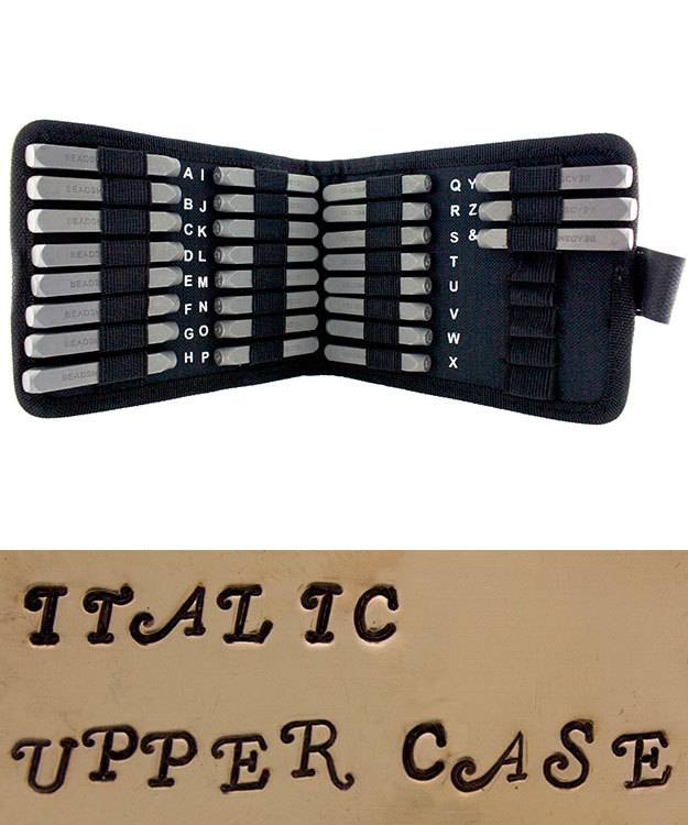 PN976 = Letter Punch Set 3mm STYLISH ITALIC UPPER CASE 27pcs with CASE