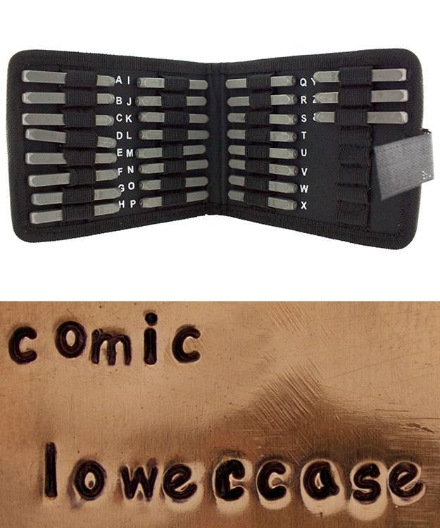PN973 = Letter Punch Set 3mm COMIC LOWER CASE 27pcs with CASE