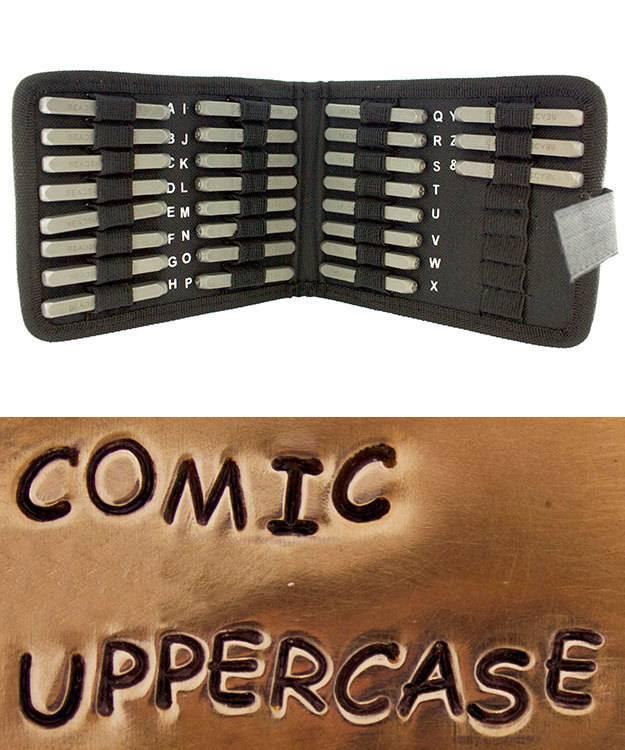 PN972 = Letter Punch Set 3mm COMIC UPPER CASE 27pcs with CASE