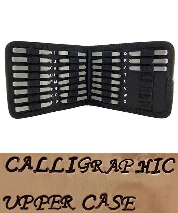 PN970 = Letter Punch Set Calligraphic Upper Case 27pcs   3mm Imprint