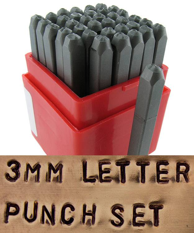 PN953 = Letter Punch Set 0 thru 9 and A thru Z with ''&'' Symbol   3mm Imprint