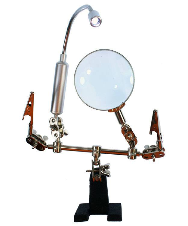 54.087 = Dual Third Hand Holder with Magnifer and LED Light