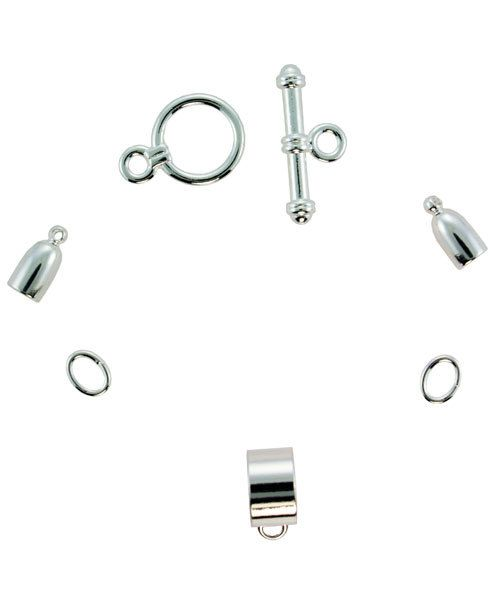 6099SP-01 = KUMIHIMO FINDING SET SILVER PLATED