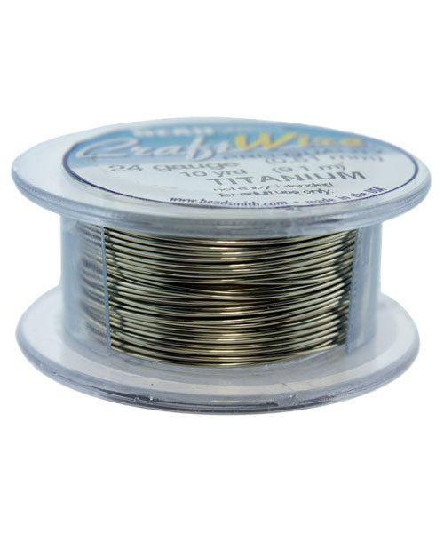WR6724T = Craft Wire Tarnish Resistant Titanium Color Round 24ga 10 YARDS