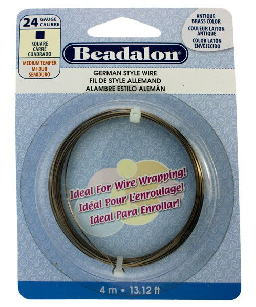 WR5724AB = German Style Wire 24ga SQUARE ANTIQUE BRASS COLOR 4 METER COIL