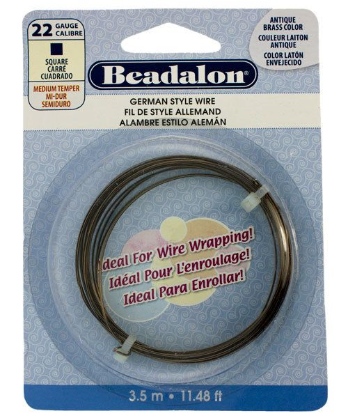 WR5722AB = German Style Wire 22ga SQUARE ANTIQUE BRASS COLOR 3.5 METER COIL
