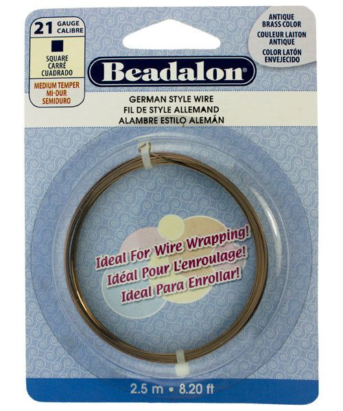 WR5721AB = German Style Wire 21ga SQUARE ANTIQUE BRASS COLOR 2.5 METER COIL